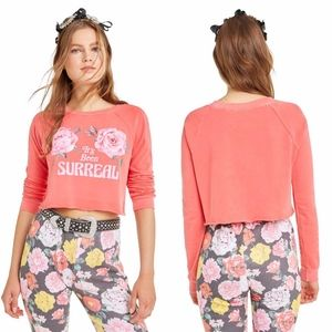 WILDFOX It's Been Surreal Rose Floral Crop Sweater